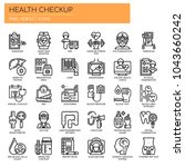 health checkup   thin line and... | Shutterstock .eps vector #1043660242