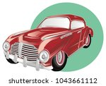 red old car peek up from banner | Shutterstock . vector #1043661112