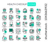 health checkup   thin line and... | Shutterstock .eps vector #1043663932