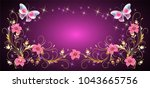 floral ornament frame with... | Shutterstock .eps vector #1043665756