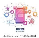 flat illustration for ui ux... | Shutterstock .eps vector #1043667028