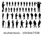 vector set of talking people... | Shutterstock .eps vector #1043667538