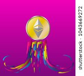 ethereum coin launches the moon.... | Shutterstock .eps vector #1043669272
