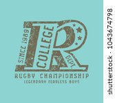 emblem of rugby team. graphic... | Shutterstock .eps vector #1043674798