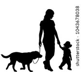 Stock vector silhouettes of woman with kid and dog walking 1043678038