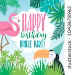 happy birthday party poster... | Shutterstock .eps vector #1043678962
