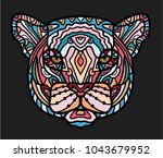 stylized colorful doodle... | Shutterstock .eps vector #1043679952
