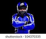 rider motorcyclist in blue... | Shutterstock . vector #104370335