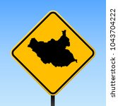 south sudan map road sign.... | Shutterstock .eps vector #1043704222