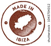 ibiza map vintage red stamp.... | Shutterstock .eps vector #1043704312