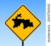 tajikistan map road sign.... | Shutterstock .eps vector #1043704342