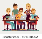 business colleagues meeting at... | Shutterstock .eps vector #1043706565