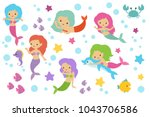 pretty swimming mermaids with...   Shutterstock .eps vector #1043706586