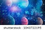 bluebird galaxy   elements of... | Shutterstock . vector #1043722195