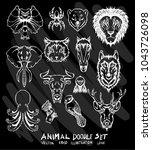 hand drawn doodle vector animal ... | Shutterstock .eps vector #1043726098