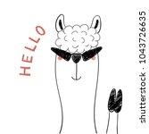 hand drawn portrait of a cute... | Shutterstock .eps vector #1043726635