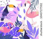 tropical jungle leaves... | Shutterstock .eps vector #1043727532
