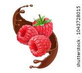 chocolate splash and raspberry... | Shutterstock .eps vector #1043728015
