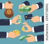 businessman hand holding money. ... | Shutterstock .eps vector #1043728042