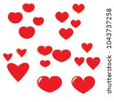 vector hearts set  valentine... | Shutterstock .eps vector #1043737258