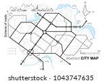 city map. line scheme of roads. ...   Shutterstock .eps vector #1043747635