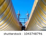gas pipeline with valves close... | Shutterstock . vector #1043748796