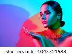 high fashion model woman... | Shutterstock . vector #1043751988