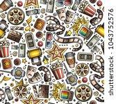 cartoon cute hand drawn cinema... | Shutterstock .eps vector #1043752576
