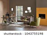 decorative modern home office... | Shutterstock . vector #1043755198
