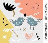 vector and jpg image. hand... | Shutterstock .eps vector #1043757892