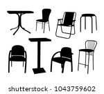 vector set of chairs and tables | Shutterstock .eps vector #1043759602