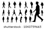 Stock vector vector collection of walking people silhouettes 1043759665