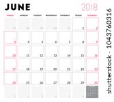 calendar planner for june 2018. ... | Shutterstock .eps vector #1043760316