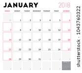 calendar planner for january... | Shutterstock .eps vector #1043760322