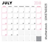 calendar planner for july 2018. ... | Shutterstock .eps vector #1043760325