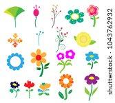 cute colorful flower on white... | Shutterstock .eps vector #1043762932
