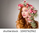 young woman with red hair... | Shutterstock . vector #1043762962