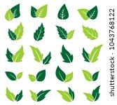 green leaf icons set. vector... | Shutterstock .eps vector #1043768122