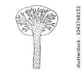 hand drawn stylized tree ... | Shutterstock .eps vector #1043768152