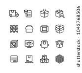 product packing line icons. box ... | Shutterstock .eps vector #1043768506