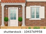 the facade of a brick... | Shutterstock .eps vector #1043769958