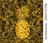 pineapple  a tropical fruit.... | Shutterstock .eps vector #1043772706