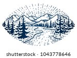 mountain vintage emblem. fir... | Shutterstock .eps vector #1043778646