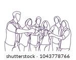 group of sketch people cheers... | Shutterstock .eps vector #1043778766