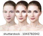 woman applying makeup step by...   Shutterstock . vector #1043782042