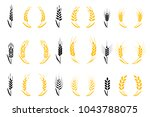 agriculture wheat. wheat ears... | Shutterstock .eps vector #1043788075