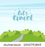 vector cartoon landscape with... | Shutterstock .eps vector #1043792845