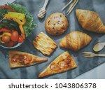 top view of breakfast bread and ... | Shutterstock . vector #1043806378