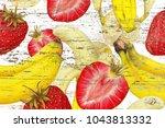 strawberries bananas on grunge...   Shutterstock . vector #1043813332