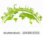 ecology concept with green city ... | Shutterstock .eps vector #1043815252